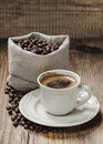 Cup of coffee on wooden table Royalty Free Stock Photography