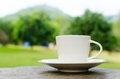 Cup of coffee on wooden table in garden Stock Photography