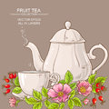 Cup of dog rose tea and teapot Royalty Free Stock Photo
