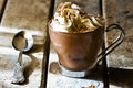 Cup Espresso Coffee with Chocolate Whipped Cream Royalty Free Stock Photo