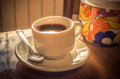 Cup of espresso coffee with the morning light Royalty Free Stock Photo
