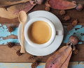 Cup of espresso in morning sunlight Royalty Free Stock Photo