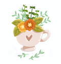 Cup with flowers lovely and heart Stock Photo
