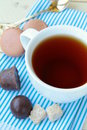 Cup of fragrant tea with sugar Stock Photos