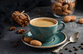 Cup of fresh coffee with Amaretti cookies on dark background Royalty Free Stock Photo