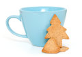 Cup with gingerbread cookies on white background Stock Photography