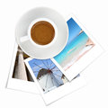 Cup of greek coffee and photos of greece on white Royalty Free Stock Photo