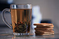 Cup of green tea, black Royalty Free Stock Photo