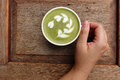 A cup of green tea matcha latte Royalty Free Stock Photo