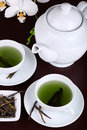 Cup of green tea with white orchid Royalty Free Stock Images