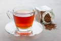 Cup of healthy herbal rooibos red tea in glass cup Royalty Free Stock Photo