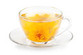 Cup of healthy tea isolated with yellow flower Stock Images
