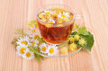 Cup of herbal tea in glass with linden and camomile flowers on a wood table background Royalty Free Stock Photo