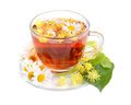 Cup of herbal tea with linden and camomile flowers on white background Royalty Free Stock Photography
