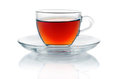Cup of hot black tea  on white Stock Image