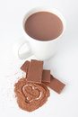 Cup of hot chocolate and cocoa powder Stock Photos