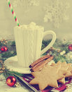 Cup of hot chocolate with marshmallow and Christmas cookies. Royalty Free Stock Photo
