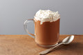 Cup of hot chocolate with whipped cream on wooden table Royalty Free Stock Photos