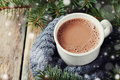 Cup of hot cocoa or hot chocolate on knitted background with fir tree and snow effect