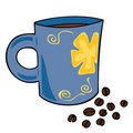 Cup with hot coffee and coffee grains. Royalty Free Stock Photography