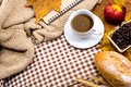 Cup of hot Coffee with toast for Autumn season Royalty Free Stock Photo