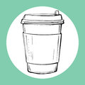 Cup of hot drink sketch icon.