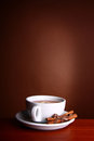 Cup hot Tea on brown background Royalty Free Stock Photos