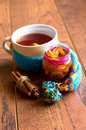Cup of hot tea in the cold time with lemon and scarf cinnamon Royalty Free Stock Photography