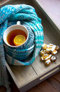Cup of hot tea in the cold time winter with lemon and scarf Royalty Free Stock Image