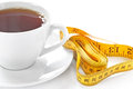 Cup of hot tea with tape measure on white background Stock Images