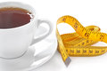Cup of hot tea with tape measure on white background Stock Photos