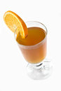 Cup of ice tea and orange on a white Royalty Free Stock Photography