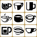 Cup icons set and mug Royalty Free Stock Image