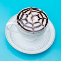 A cup of latte art hot coffee mocca Stock Photos