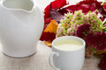 A cup of milk and milk jug autumn leaves flowers Royalty Free Stock Images