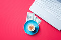 Cup, money and laptop Royalty Free Stock Photo