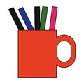 Cup with pens and pencils Royalty Free Stock Photo