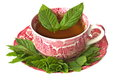 Cup of peppermint tea with fresh leaves Royalty Free Stock Photo