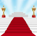 Cup on podium with red carpet Royalty Free Stock Images