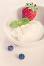 Cup quark strawberries Royalty Free Stock Image