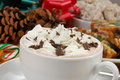 Cup of rich hot chocolate with whipped cream Stock Photography