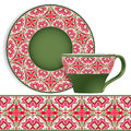 Cup and saucer with Oriental pattern.