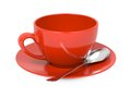 Cup with Spoon and Saucer. Royalty Free Stock Image