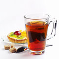 Cup of tea and �ake Stock Images