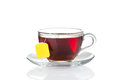 Cup of tea with bag (blank label) inside Royalty Free Stock Photo