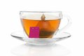 Cup with a tea bag on saucer isolated white Stock Images
