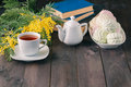 Cup of tea with book and sweets Royalty Free Stock Photo