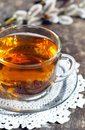 Cup of tea with branch of willow Royalty Free Stock Photo