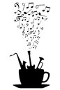 Cup of tea or coffee with musical instruments and notes Royalty Free Stock Images