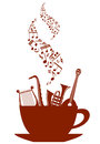 Cup of tea or coffee with musical instruments and waves of notes Royalty Free Stock Photography